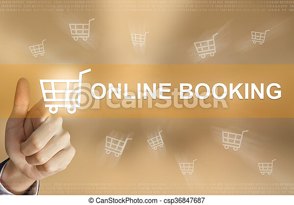 business hand press online booking button - csp36847687