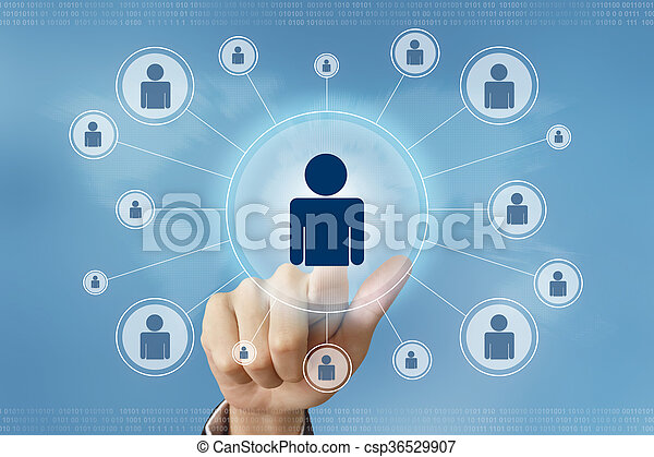 business hand press people button - csp36529907