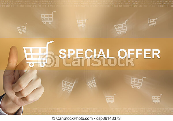 business hand press special offer button - csp36143373