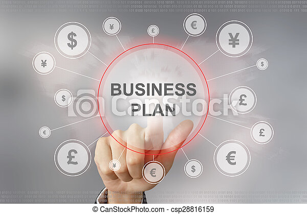 business hand pushing business plan button - csp28816159