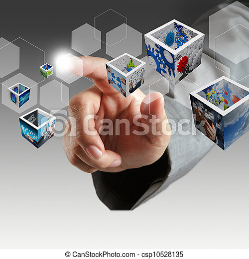 business hand touch virtual button and 3d images  - csp10528135