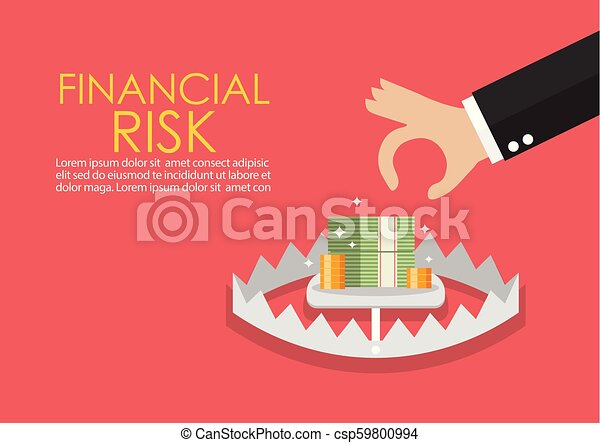 Business hand try to pick up money in the trap - csp59800994