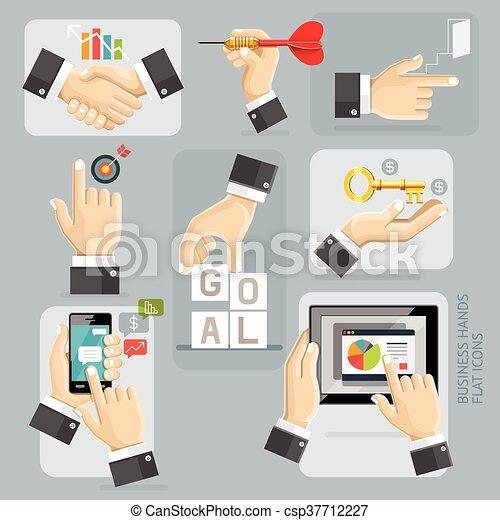 Business Hands Flat Icons Set. Vector Illustration. - csp37712227