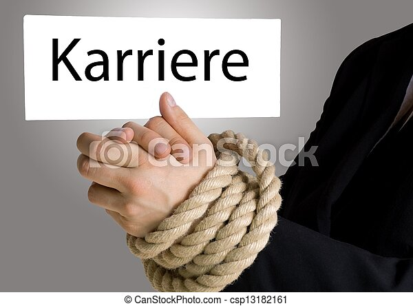 business hands in chains with banner Karriere - csp13182161