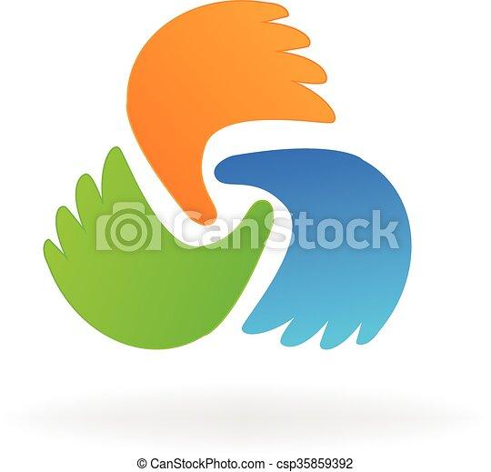 Business hands logo - csp35859392