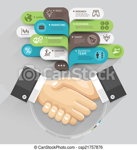 Business handshake and bubble speech template style. Vector illustration. can be used for workflow layout, diagram, number options, step up options, web design, banner template, infographic. - csp21757876