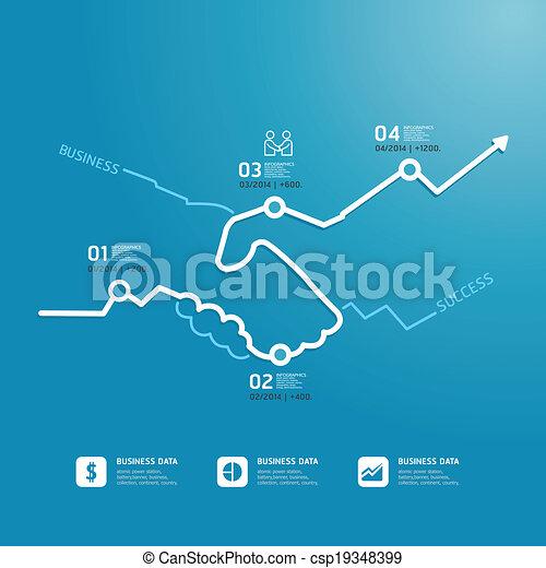 Business Handshake Diagram Line Style Template