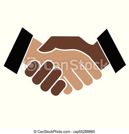 Business handshake. Icon on white background - csp55288860