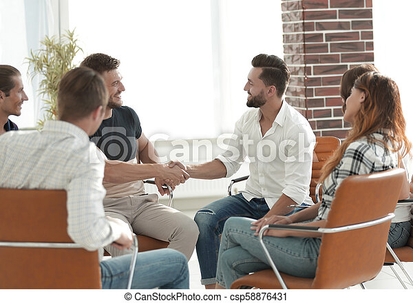 business handshake in modern office. the concept of cooperation. - csp58876431