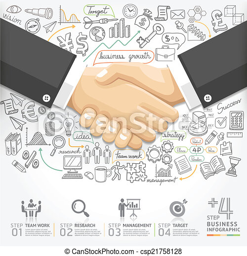 Business handshake Infographics. - csp21758128