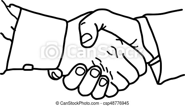 business handshake - vector illustration sketch hand drawn with black lines, isolated on white background - csp48776945