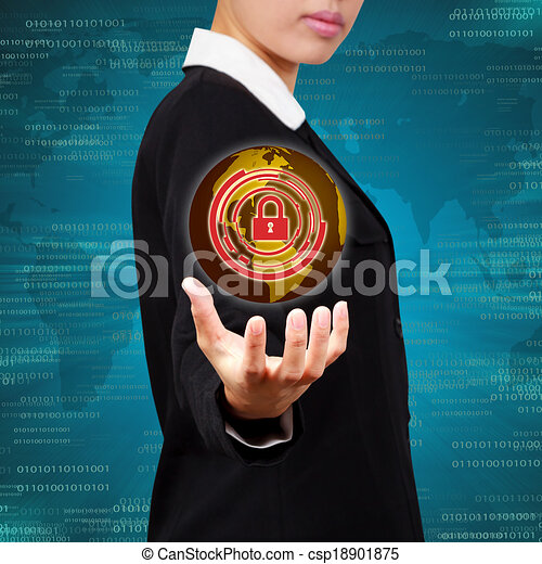 Business holding globe virtual screen of security. Concept of security business Information systems and networks. - csp18901875