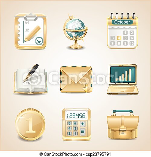 Business icons of gold - csp23795791
