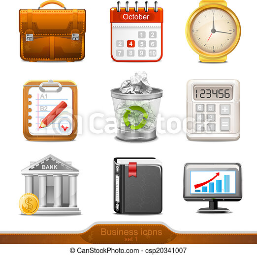 Business icons set 1 vector - csp20341007