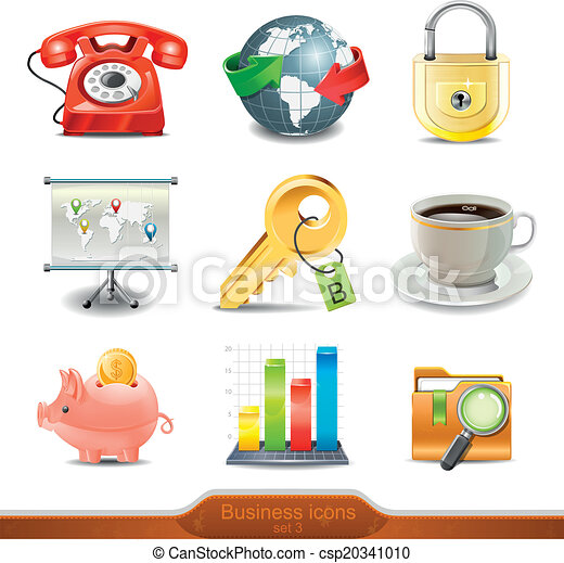 Business icons set 3 vector - csp20341010