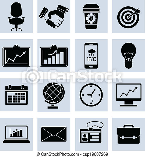 Business Icons Set Black - csp19607269