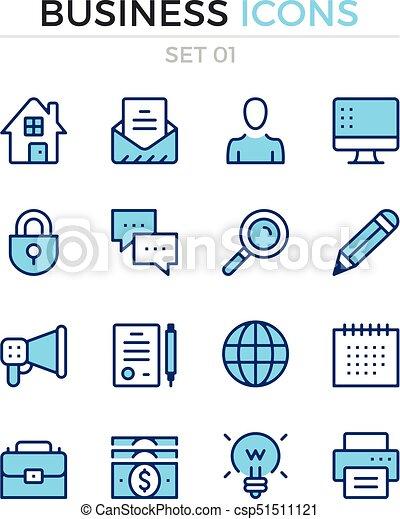 Business icons. Vector line icons set. Premium quality. Simple thin line design. Modern outline symbols, pictograms - csp51511121