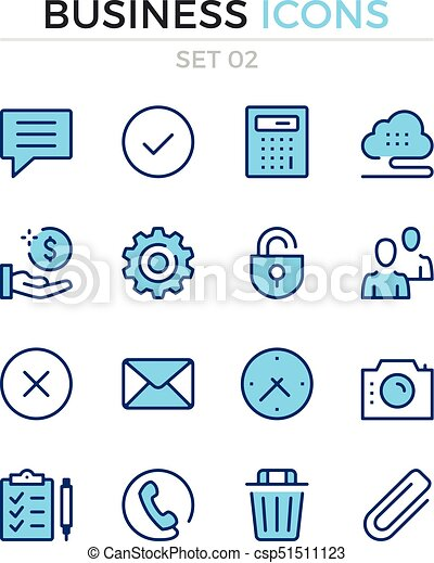 Business icons. Vector line icons set. Premium quality. Simple thin line design. Modern outline symbols, pictograms - csp51511123