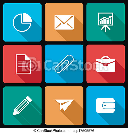 Business Icons with Long Shadow - csp17505576