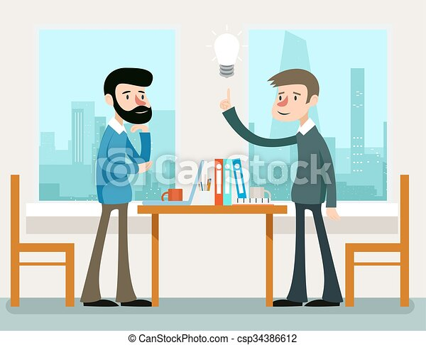 Business idea. Businessmen discussing strategy standing at office desk - csp34386612