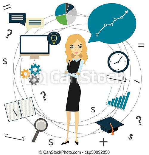 business idea concept business woman and business objects vector rh canstockphoto com Book Clip Art Food Clip Art