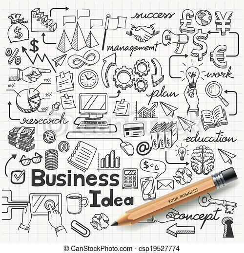Business Idea doodles icons set. - csp19527774