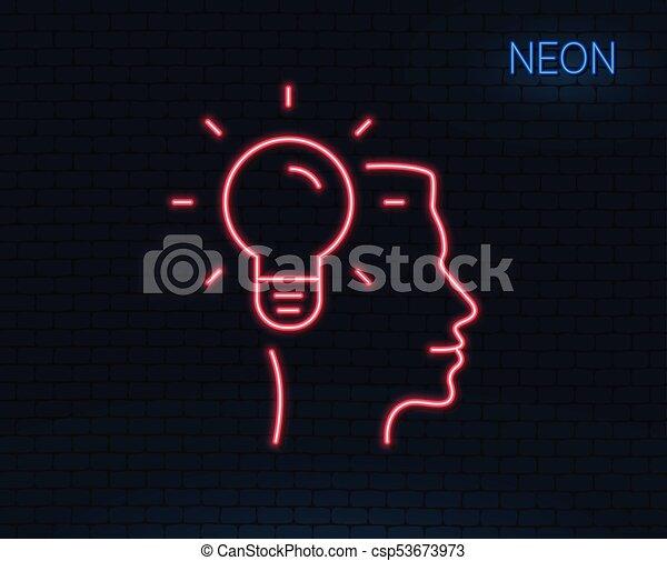 Neon Light Bulbs >> Business Idea Line Icon Light Bulb Sign