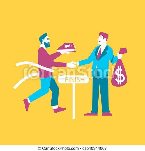 Business ideas banner. Exchange ideas to money - csp40344067