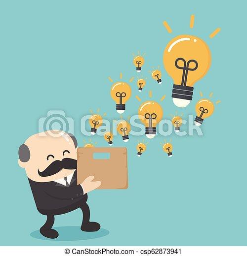 Business illustration concept elderly businessman with a brilliant idea - csp62873941