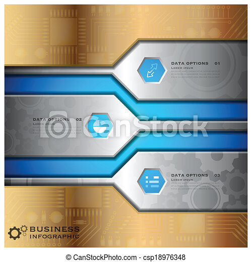 Business Infographic With Technology Background - csp18976348