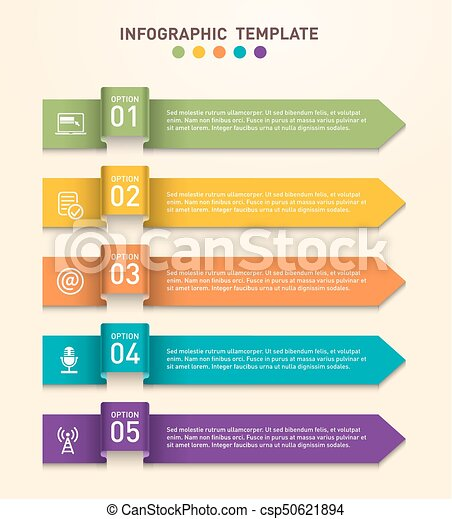 Business infographics template with five different options represented by arrows - csp50621894