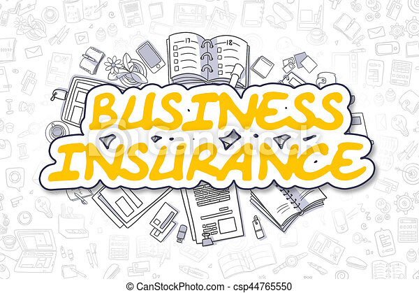 Business Insurance - Doodle Yellow Word. Business Concept. - csp44765550