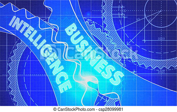 Business intelligence on the gears blueprint style stock business intelligence on the gears blueprint style csp28099981 malvernweather Images