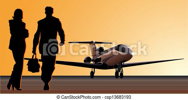business-jet at aerodrome - csp13683193