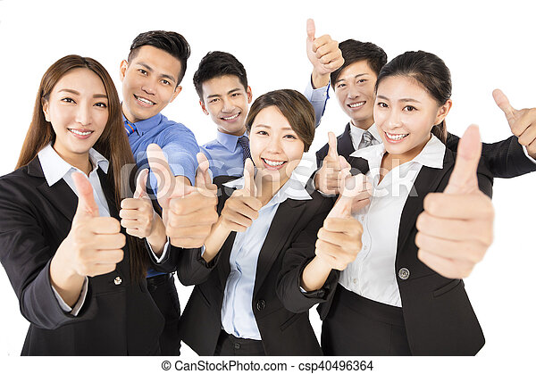 business, jeune, haut, pouces, équipe, geste, heureux - csp40496364