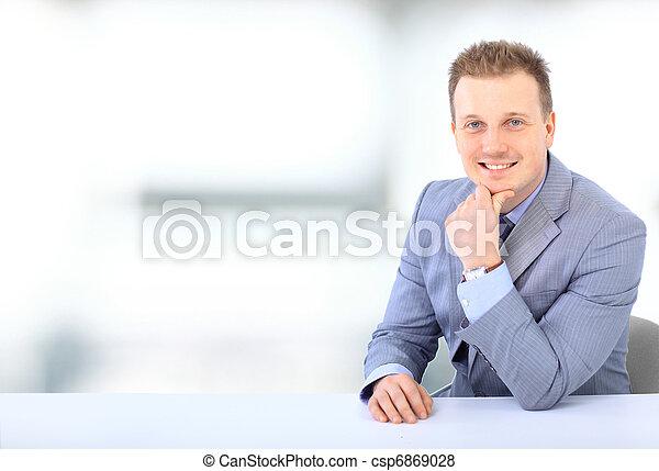 business, jeune, isolé, bureau, blanc, homme - csp6869028