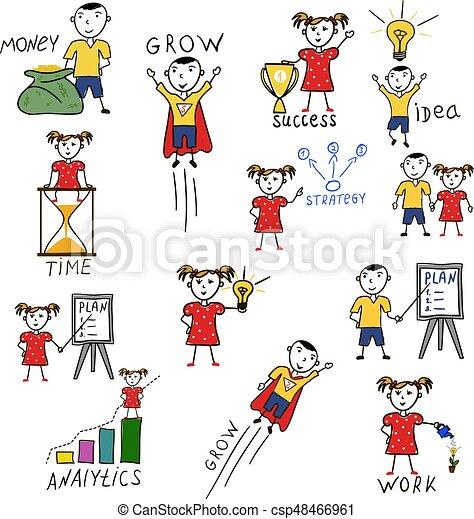 Business Kids Hand Drawing Cartoon Characters Business Kids Hand