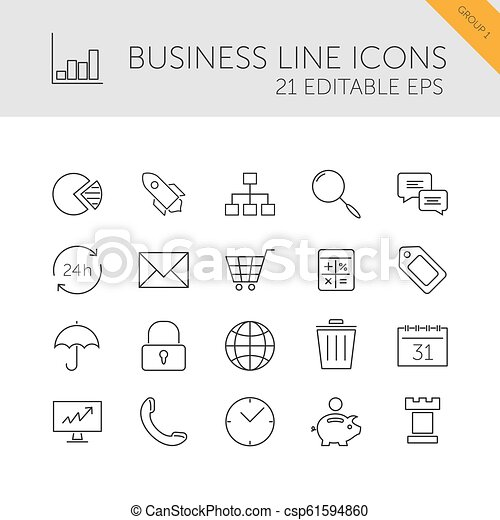 Business line icons set on a white background - csp61594860