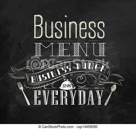 Business lunch chalk board  - csp14458080