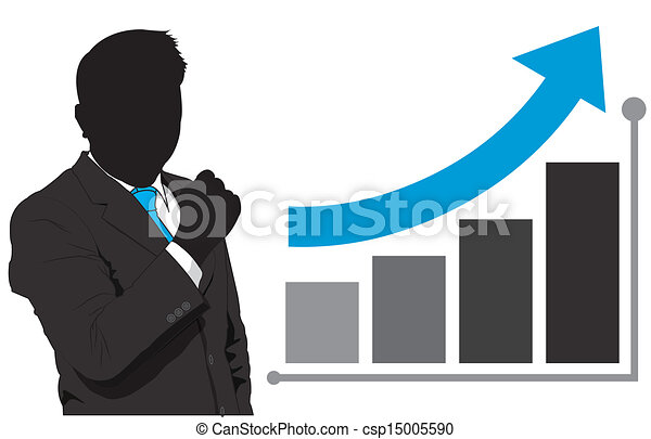 business man and graph growth - csp15005590