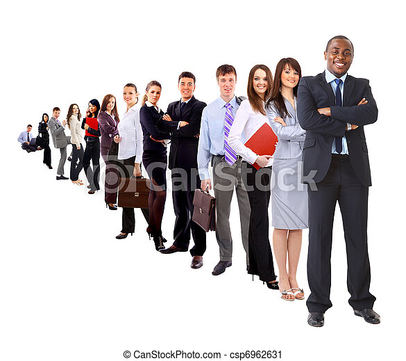 business man and his team isolated over a white background  - csp6962631