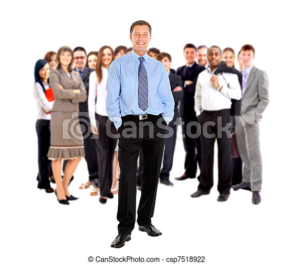 business man and his team isolated over a white background  - csp7518922