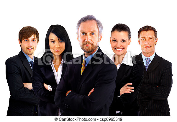 business man and his team isolated over a white background  - csp6965549