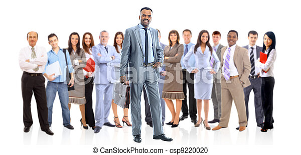 business man and his team isolated over a white background - csp9220020