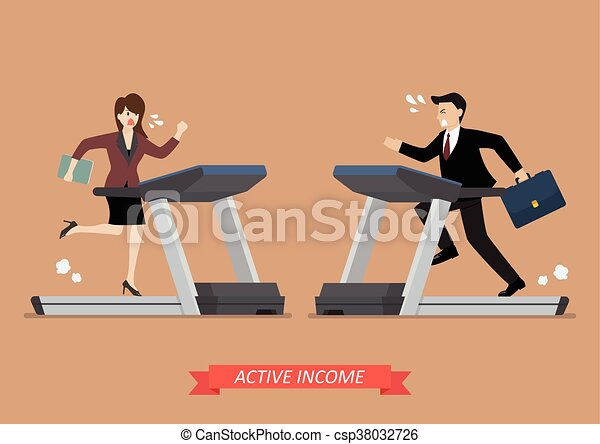 Business man and woman running on a treadmill - csp38032726