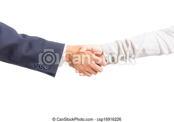 business man and woman shaking hand isolated - csp16916226