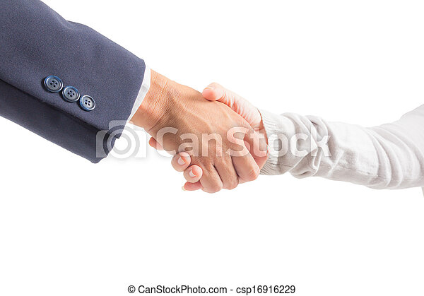 business man and woman shaking hand isolated - csp16916229