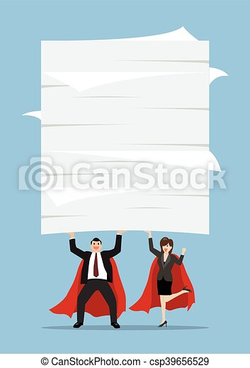 Business man and woman superhero lifting a lot of documents - csp39656529