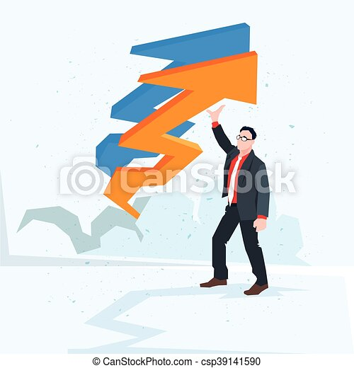 Business Man Arrow Up Financial Success Concept - csp39141590