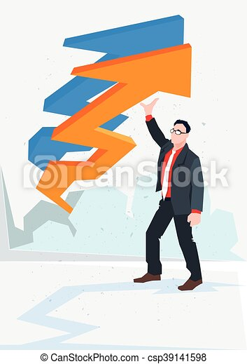 Business Man Arrow Up Financial Success Concept - csp39141598